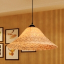 1 Head Flare Ceiling Lamp Asian Bamboo Hanging Light Fixture in Brown for Dining Room