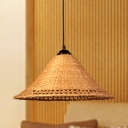 Japanese Hand-Woven Down Lighting Bamboo 1 Bulb Ceiling Suspension Lamp in Brown