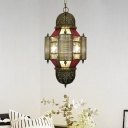 3 Lights Metal Chandelier Lighting Vintage Brass Lantern Restaurant Hanging Lamp Kit