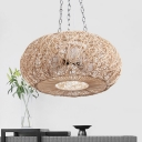 Bamboo Curved Drum Pendant Chandelier Asian 3 Heads Hanging Ceiling Light in Beige