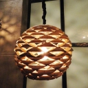 Global Pendant Lighting Chinese Wood 1 Bulb Brown Ceiling Hanging Light, 12