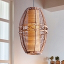 Bamboo Urn Ceiling Lamp Asia 1 Head Brown Hanging Light Kit with Inner Tube Parchment Shade