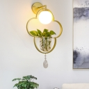 Metal Gold Hanging Pendant Light Flower 1 Head Industrial Ceiling Light with Plant Deco