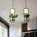 Industrial Cylinder Cluster Pendant 2/3 Lights Metal Plant Hanging Light Fixture in Black/White for Restaurant