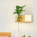 Metal Square Wall Lighting Industrial 1 Bulb Bedroom LED Wall Sconce Lamp in Wood without Plant, Left/Right
