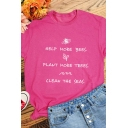 Letter HELP MORE BEES PLANT MORE TREES CLEAN THE SEAS Printed Short Sleeve Loose Tee