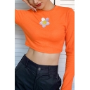 Cute Embroidery Fower Pattern Long Sleeves Crewneck Slim Fit Orange Cropped T-Shirt