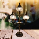 1/2/3-Bulb Nightstand Light Vintage Moon/Gooseneck Arm/Arm Clear Crackle Glass Shade Night Table Lamp in Bronze