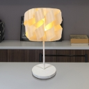 Asian 1 Bulb Task Lighting Beige Twist Small Desk Lamp with Wood Shade for Bedside