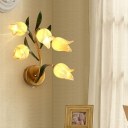 Gold 5 Lights Wall Lamp Traditional Metal Blossom LED Wall Mount Light for Living Room