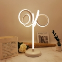 Swirly Reading Book Light Minimalist Acrylic LED White Small Desk Lamp in White/Warm Light