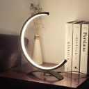 LED Living Room Table Light Minimalism Black Nightstand Lamp with Curvy Acrylic Shade