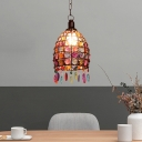 Stained Glass Rust Hanging Pendant Dome 1 Head Traditional Drop Lamp for Living Room