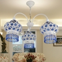 Blue 3-Bulb Chandelier Light Traditional Metal Lantern Pendant Lighting Fixture for Living Room