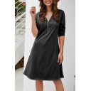 Womens Leisure Plain 3/4 Length Sleeve V-Neck Zipper Front Midi A-Line Dress