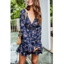 Women's Chic Floral Printed Deep V-Neck Bell Sleeve Gathered Waist Dark Blue Mini Ruffle Dress