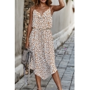 Women's Unique Dot Print Cowl Neck Spaghetti Straps Drawstring Waist Asymmetric Hem Midi Cami Dress
