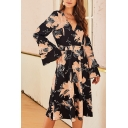 New Arrival Chic Floral Printed Surplice Neck Bell-Sleeve Gathered Waist Midi A-Line Dress