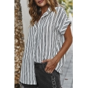 Cool Stylish Women's Roll-Up Sleeve Lapel Collar Button Down Stripe Print Relaxed Fit Shirt