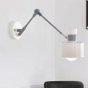 Adjustabla Arm Sconce Modernist Metal 1 Head Gray Wall Mount Light Fixture for Bedroom