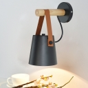 Metal Tapered Wall Lighting Chinese 1 Head Black/White Sconce Light Fixture with Wood Arm