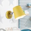 Cone Sconce Macaron Metal 1 Head Yellow Wall Lighting Fixture with Adjustable Arm