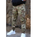 Men's Leisure Camouflage Printed Flap Pocket Slim Fit Zipper Embellished Cargo Pants