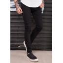 Hot Popular Black Plain Zipper Ripped Shredded Skinny Washed Jeans Pencil Pants