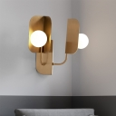 Curved Arm Wall Lighting Contemporary Metal 2 Heads Sconce Light Fixture in Gold for Bedside