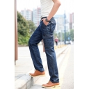 Men's Popular Solid Color Flap Pocket Straight Fit Mid-Rised Jeans