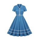 Women's Vintage Short Sleeve Lapel Neck Button Front Contrast Piped Midi Pleated Flared Dress in Light Blue