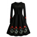 Vintage Ladies' Long Sleeve Surplice Neck Scalloped Trim Floral Pattern Midi Pleated Flared Dress in Black