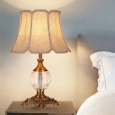 Bell Bedroom Table Light Traditionalism Fabric 1 Bulb Beige Night Lamp with Clear Crystal Accent