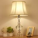 White Bell Table Lamp Minimalism Clear K9 Crystal Single Head Restaurant Nightstand Light