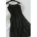 Fancy Plain Sleeveless Floral Embroidered Mesh Short A-Line Cami Dress for Ladies