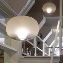 Lantern Pendant Light Modern Frosted White Glass 1 Head Suspended Lighting Fixture, 12.5