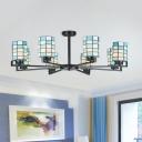 White/Black Cylinder Semi-Flush Mount Light Tiffany 3/6/8 Lights Cut Glass Ceiling Flush for Living Room