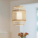 Bamboo Handmade Ceiling Light Asian 1 Bulb Wood Pendant Lighting Fixture with Inner Cylinder White Shade