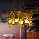 Green Rudder Pendant Chandelier Vintage Metal 6 Bulbs Restaurant LED Hanging Ceiling Light with Plant Decor