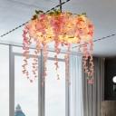 Bloom Restaurant Chandelier Light Industrial Metal 5 Bulbs Pink Pendant Lighting Fixture