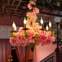 Candlestick Metal Chandelier Light Industrial 6 Heads Restaurant LED Down Lighting in Pink with Cherry Blossom