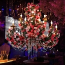 Metal 2 Tiers Pendant Chandelier Antique 12 Bulbs Restaurant LED Rose Ceiling Suspension Lamp in Gold