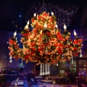 15 Lights Metal Ceiling Chandelier Retro Red 3 Tiers Restaurant LED Flower Down Lighting with Crystal Draping