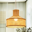 1 Bulb Teahouse Hanging Lamp Asian Beige Ceiling Pendant Light with Urn Bamboo Shade