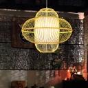 Lantern Ceiling Light Chinese Bamboo 1 Bulb Beige Pendant Lighting Fixture, 18