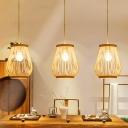 Jar Pendant Light Japanese Bamboo 1 Bulb Wood Suspended Lighting Fixture for Restaurant