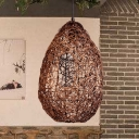 1 Bulb Restaurant Pendant Lamp Asia Brown Hanging Light Fixture with Cage Rattan Shade