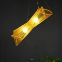 Laser Cut Pendant Chandelier Chinese Bamboo 2 Heads Hanging Ceiling Light in Beige