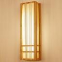Rectangular Sconce Light Japanese Wood 1 Bulb Beige Wall Mounted Lighting, 4