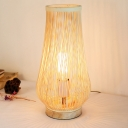 Japanese 1 Bulb Small Desk Lamp Beige Laser Cut Task Lighting with Bamboo Shade
